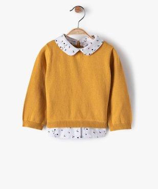 Pull bébé fille effet 2 en 1 avec col et bas chemise vue1 - GEMO(BEBE DEBT) - GEMO