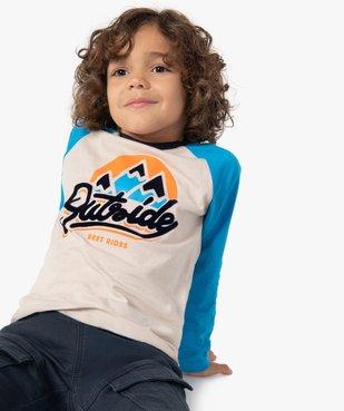 Tee-shirt garçon à manches longues multicolore à motif velours vue1 - GEMO (ENFANT) - GEMO