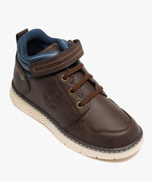 Boots garçon à col rembourré fermeture lacets et scratch vue5 - GEMO (ENFANT) - GEMO