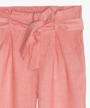 Pantalon fille large et fluide à taille paper bag vue2 - GEMO (ENFANT) - GEMO