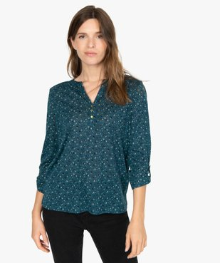Tee-shirt femme manches 3/4 imprimé à col original vue1 - GEMO C4G FEMME - GEMO