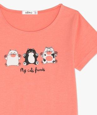 Pyjashort fille avec motifs chats sur le haut vue3 - GEMO (ENFANT) - GEMO