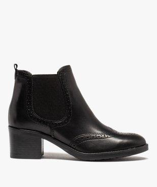 Boots femme à talon dessus cuir uni avec perforations vue1 - GEMO(URBAIN) - GEMO