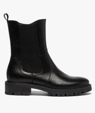 Boots femme unis style chelsea à semelle crantée vue1 - GEMO (CASUAL) - GEMO