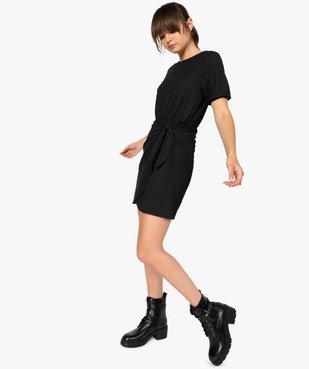 Robe femme à manches courtes avec bas façon portefeuille vue5 - GEMO(FEMME PAP) - GEMO