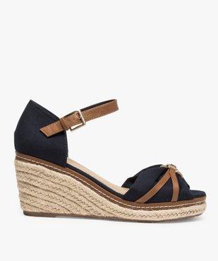 Sandales femme à talon compensé et dessus toile drapée vue3 - GEMO(URBAIN) - GEMO
