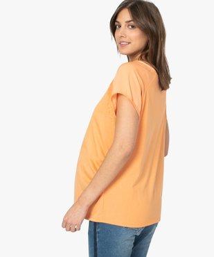 Tee-shirt de grossesse à manches courtes satinées et dentelle vue3 - GEMO (MATER) - GEMO