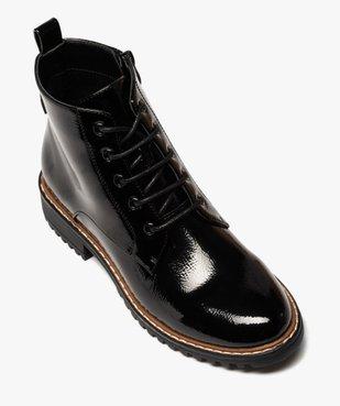 Boots femme à talon plat dessus uni et verni vue5 - GEMO (CASUAL) - GEMO