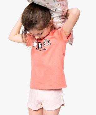 Pyjashort fille avec motifs chats sur le haut vue1 - GEMO (ENFANT) - GEMO