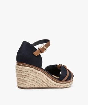 Sandales femme à talon compensé et dessus toile drapée vue4 - GEMO(URBAIN) - GEMO