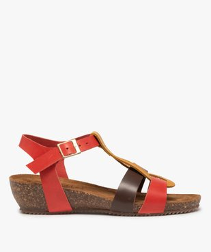 Sandales femme à brides en cuir colorées et talon compensé vue1 - GEMO (CASUAL) - GEMO