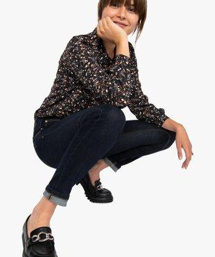 Jean femme brut à coupe slim et taille haute vue1 - GEMO(FEMME PAP) - GEMO