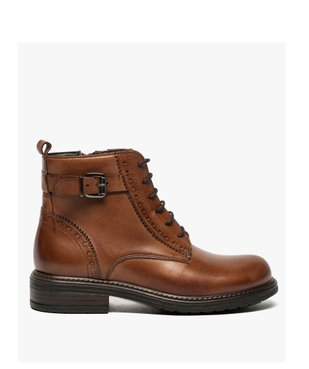Boots fille zippées dessus cuir uni avec bordures perforées vue1 - GEMO (ENFANT) - GEMO