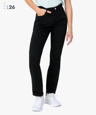 Pantalon femme en toile unie coupe droite 5 poches- Longueur L26 vue1 - GEMO (JEAN) - GEMO