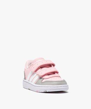Baskets bébé fille multicolores à scratch – Adidas Hoops vue2 - ADIDAS - Nikesneakers