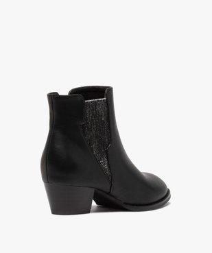 Boots fille unies à talon et élastique pailleté rock vue4 - GEMO (ENFANT) - GEMO