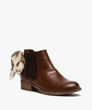 Boots femme style chelsea à talon plat et nœud foulard vue2 - GEMO (CASUAL) - GEMO