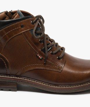 Boots homme zippés à lacets dessus cuir et col rembourré vue6 - GEMO (CASUAL) - GEMO