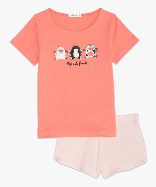 Pyjashort fille avec motifs chats sur le haut vue2 - GEMO (ENFANT) - GEMO