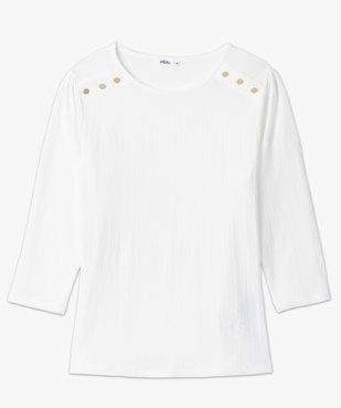 Tee-shirt femme à manches 3/4 en maille gaufrée  vue4 - GEMO(FEMME PAP) - GEMO
