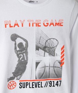 Tee-shirt garçon à manches longues avec motif basket vue2 - GEMO (ENFANT) - GEMO