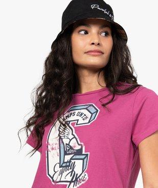 Tee-shirt femme à manches courtes et motif patiné - CAMPS vue1 - CAMPS UNITED - GEMO