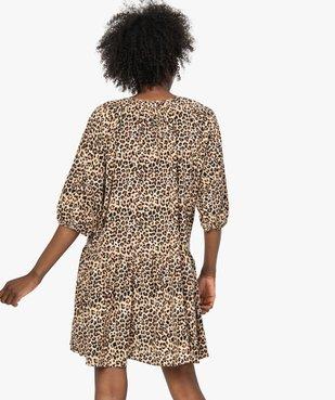 Robe femme imprimée courte à manches ¾  vue3 - Nikesneakers(FEMME PAP) - Nikesneakers
