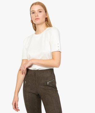Top femme en maille à manches courtes fantaisie vue1 - Nikesneakers(FEMME PAP) - Nikesneakers