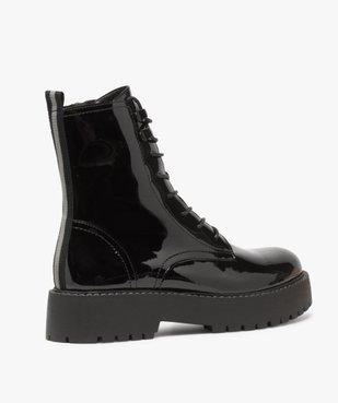 Boots femme vernis à lacets et semelle crantée vue4 - GEMO (CASUAL) - GEMO