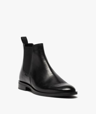 Boots homme style chelsea unis dessus cuir vue2 - GEMO(URBAIN) - GEMO