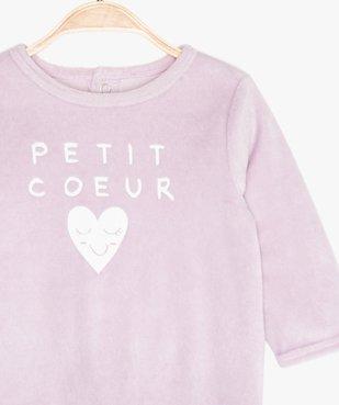 Pyjama bébé fille en velours à pont-dos pressionné vue2 - GEMO(BB COUCHE) - GEMO