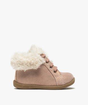 Chaussures premiers pas bébé fille en cuir à col fourré vue1 - Nikesneakers(BEBE DEBT) - Nikesneakers