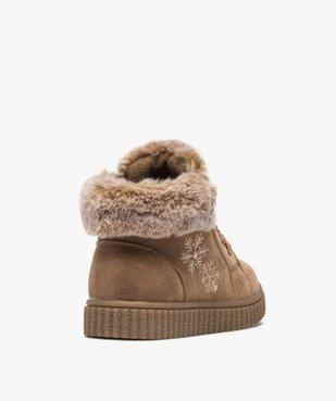 Boots fille zippées dessus suédine et col fourrure imitation  vue4 - GEMO (ENFANT) - GEMO