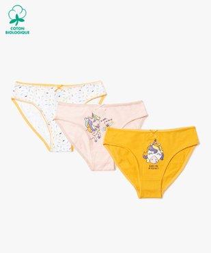 Culottes fille à motifs licorne (lot de 3) vue1 - GEMO C4G FILLE - GEMO
