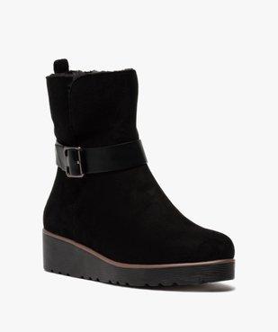 Boots femme à semelle plateforme en suédine unie vue2 - GEMO(URBAIN) - GEMO