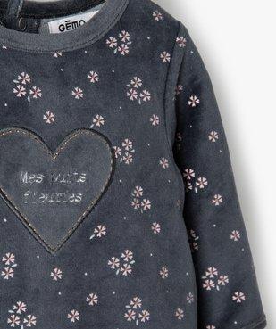 Pyjama bébé fille en velours à motifs fleuris vue2 - GEMO(BB COUCHE) - GEMO