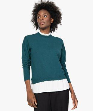 Pull femme effet 2 en 1 avec col chemise froncé vue1 - GEMO(FEMME PAP) - GEMO