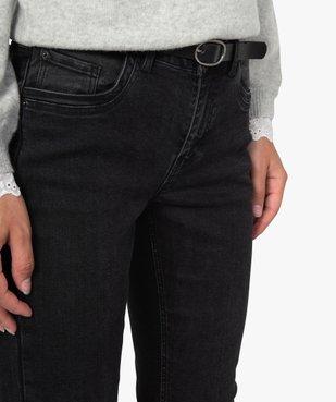 Jean femme regular taille normale noir avec ceinture vue2 - GEMO(FEMME PAP) - GEMO
