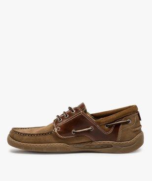 Chaussures bateau homme à lacets dessus cuir vue3 - GEMO (CONFORT) - GEMO