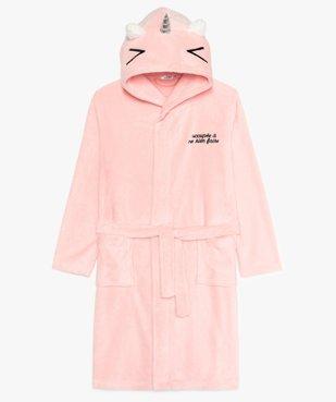 Robe de chambre fille douillette avec capuche animée vue1 - GEMO (JUNIOR) - GEMO
