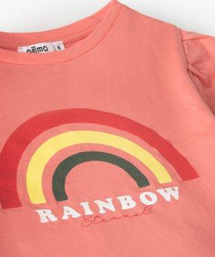 Tee-shirt fille court à manches froncées avec motif poitrine vue2 - GEMO (ENFANT) - GEMO