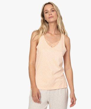 Haut de pyjama femme à col dentelle avec coton bio vue1 - GEMO C4G FEMME - GEMO