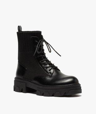 Boots femme unies à semelle crantée et col en maille vue2 - GEMO (CASUAL) - GEMO