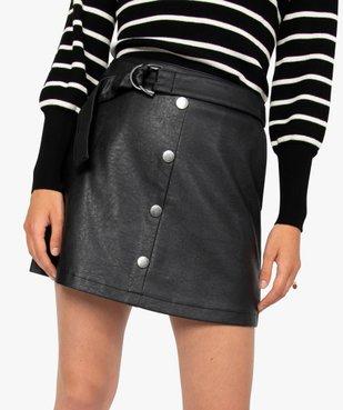 Jupe femme en synthétique imitation cuir avec ceinture vue2 - GEMO(FEMME PAP) - GEMO