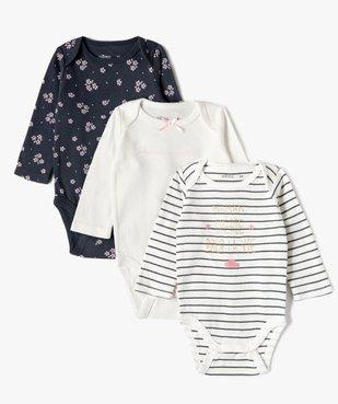 Bodies bébé fille à manches longues col américain (lot de 3) vue1 - GEMO(BB COUCHE) - GEMO