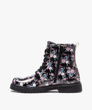 Boots fille à lacets et zip imprimées fleurs vue3 - GEMO (ENFANT) - GEMO