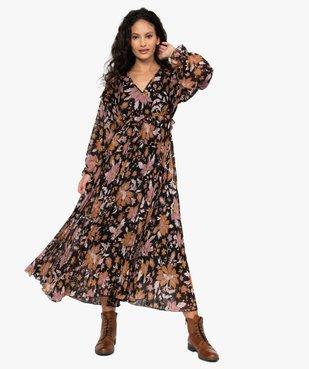 Robe femme longue en voile fleuri et plissé vue1 - GEMO(FEMME PAP) - GEMO