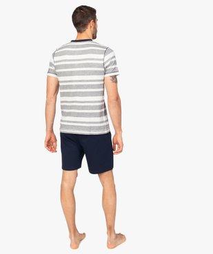 Pyjashort pour homme avec haut rayé et bas uni vue3 - GEMO(HOMWR HOM) - GEMO