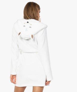 Peignoir femme avec capuche et ceinture vue3 - GEMO(HOMWR FEM) - GEMO