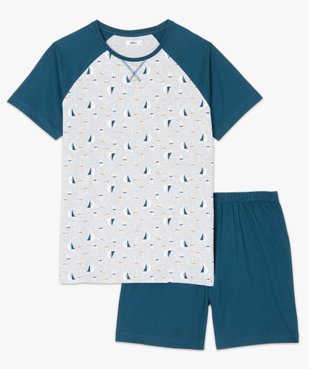 Pyjashort homme en coton stretch motif bateau vue4 - GEMO(HOMWR HOM) - GEMO